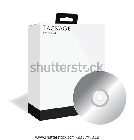Black software box, software package, product box, vector, isolated on white