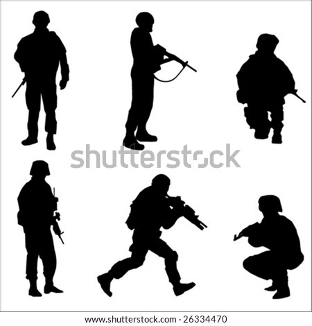 Black Soldier Silhouettes Vector illustration - stock vector