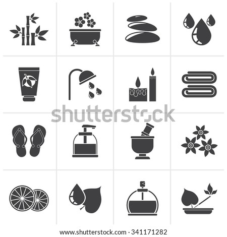 Black Spa and relax objects icons - vector icon set - stock vector