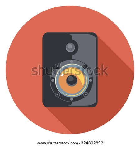 black speaker flat icon in circle - stock vector