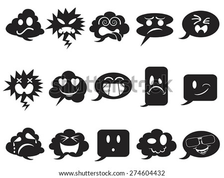 black speech bubble smileys icons - stock vector