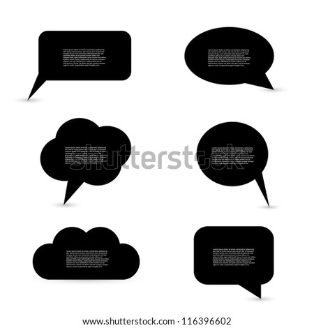 Black Speech Bubbles - stock vector