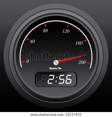 black speedometer with integral timer, vector illustration