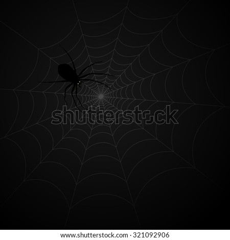 black spider on the web - stock vector