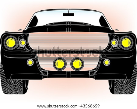 black sport car front isolated on white, abstract art illustration - stock vector