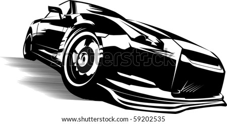 Black sports car ready to start racing on the track; - stock vector