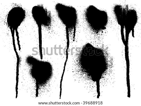 black spray drips - stock vector