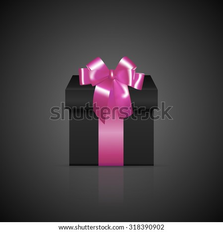 Black square gift box with pink ribbon and bow. Vector EPS10 illustration.  - stock vector