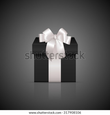 Black square gift box with white ribbon and bow. Vector EPS10 illustration.  - stock vector
