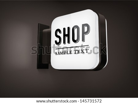 black square signboard with rounded corners, hanging on a wall - stock vector