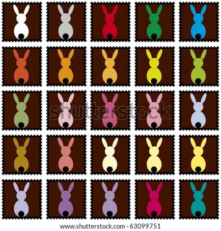 black stamps with colored rabbits - stock vector