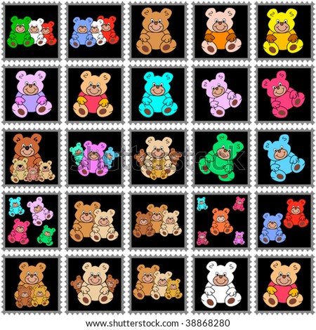 black stamps with colorful teddy bears
