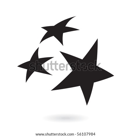 Black stars isolated on white - stock vector