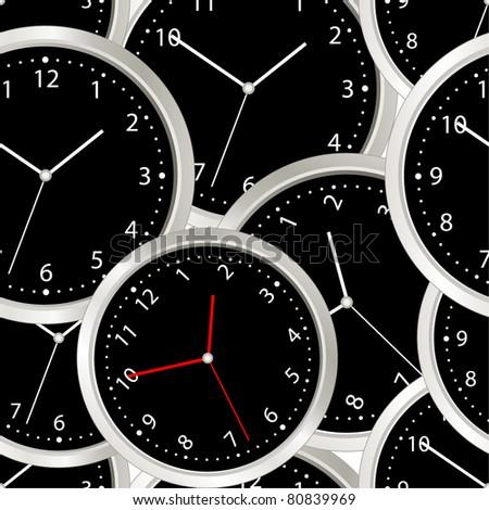 Black steel modern clock. seamless background - stock vector