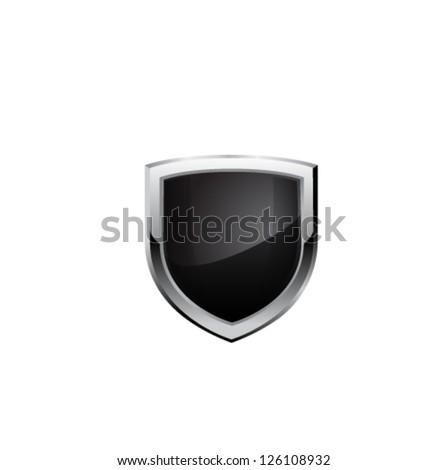 Black steel shield. Vector - stock vector