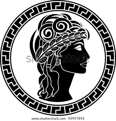 black stencil of patrician women. first variant. vector illustration - stock vector