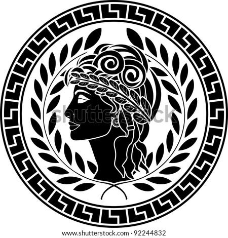 black stencil of patrician women. second variant. vector illustration - stock vector