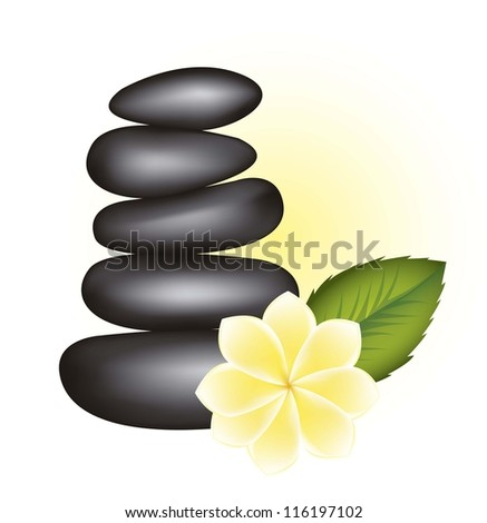 black stones spa with flower and leaf. vector illustration