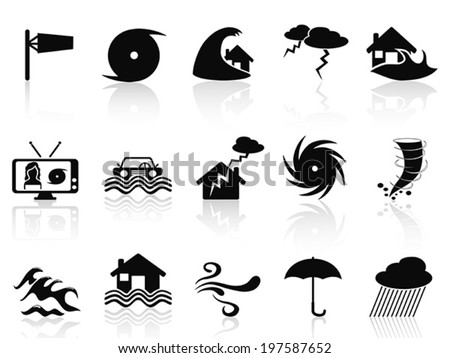 black storm icons set - stock vector