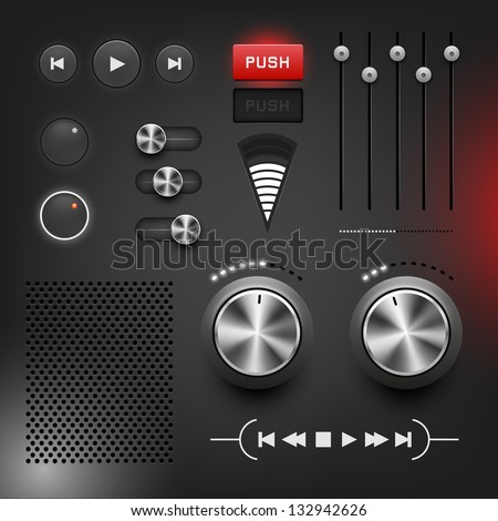 Black style user interface, vector illustration, layered. - stock vector