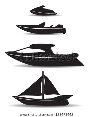 black stylized boat icons - stock vector