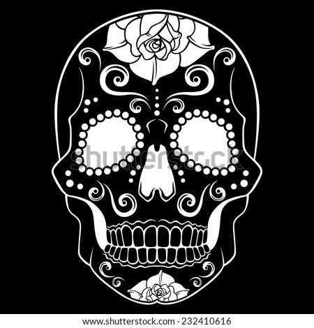 Black And White Sugar Skull Designs Black Sugar Skull With Floral