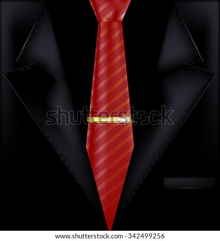 black suit and red tie - stock vector