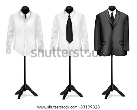 Black suit and white shirt on mannequins. Vector illustration. - stock vector