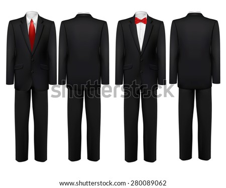 Black suit and white shirt with butterfly and tie. Vector. - stock vector