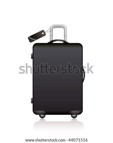 black suitcase - stock vector