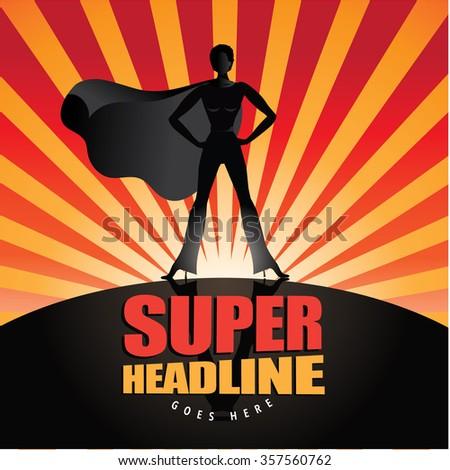 Black super hero woman stands heroically. EPS 10 vector. - stock vector