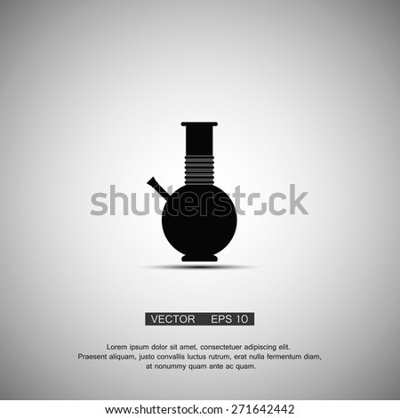 Black symbol bong smoking marijuana. Vector eps 10 - stock vector