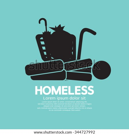 Black Symbol Graphic Of Homeless Vector Illustration - stock vector