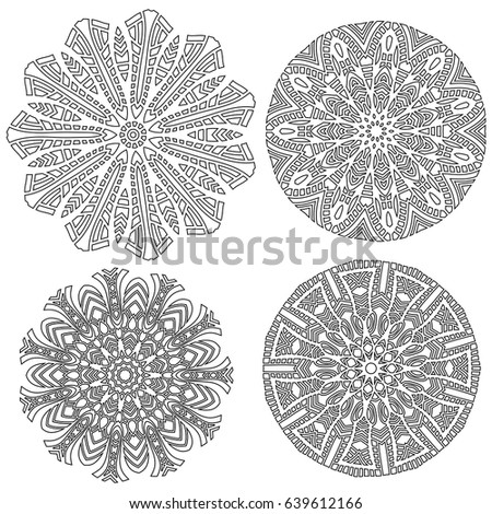 Black symmetrical ornament collection over white background