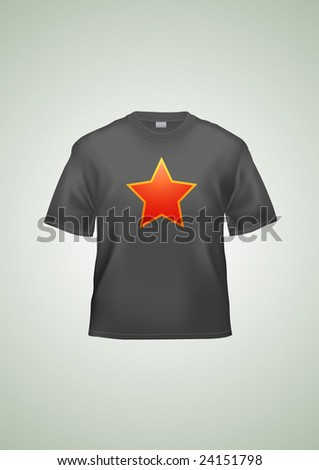 Black T-shirt unisex template (illustration contains gradient mesh elements!). Star can be easily removed. - stock vector