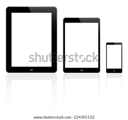 Black Tablet And Smartphone Vector In iPad Air And iPhone Style With Reflection - stock vector