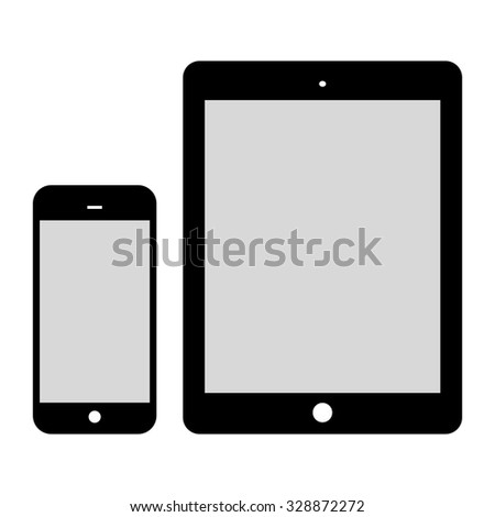 Black Tablet Computer and Phone isolated on white background. Flat design. Vector Illustration. - stock vector