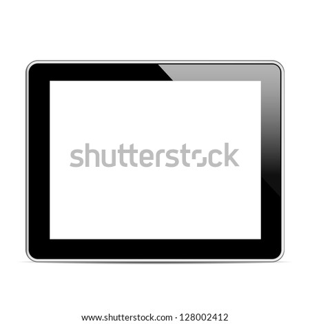 Black tablet computer (tablet pc) on white background. Vector illustration EPS10 - stock vector