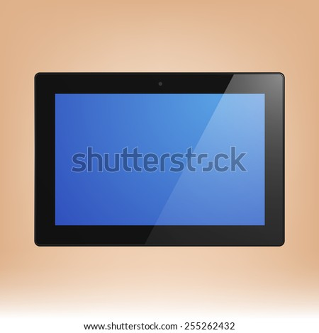 Black Tablet Computer with blue display. Illustration Similar To iPad. - stock vector