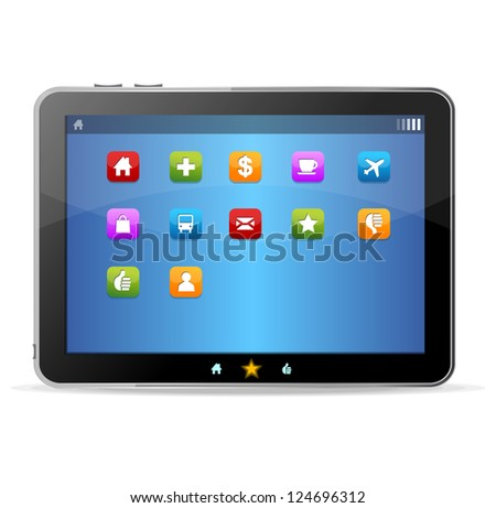 Black tablet on white background and icons - stock vector