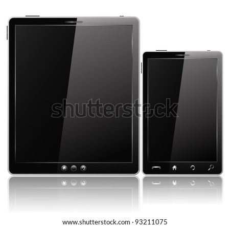 Black Tablet PC and Mobile Phone, vector eps10 illustration - stock vector