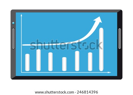 Black tablet pc computer with growth diagram on screen - stock vector