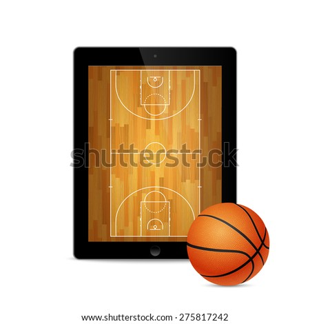Black tablet with basketball ball and court on the screen. Vector EPS10 illustration.  - stock vector