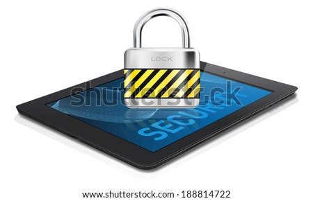 Black tablet with metal lock on display -  security concept. Isolated on white background. Vector illustration. - stock vector