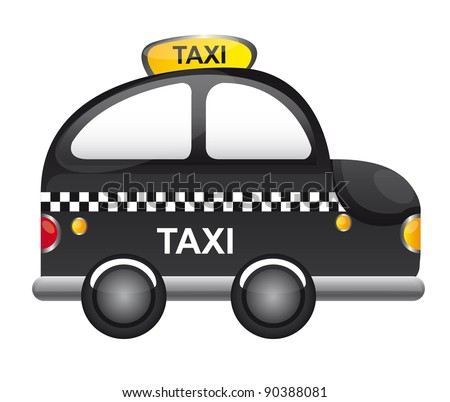 black taxi cartoon with tranparency  vector illustration - stock vector