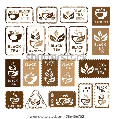 Black tea package decorations. Stickers and banners collection. Vector isolated elements for packaging design. - stock vector