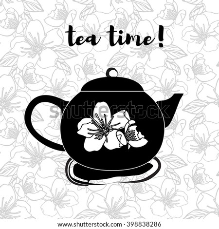 Black teapot on seamless pattern with flowers. Stock vector. - stock vector