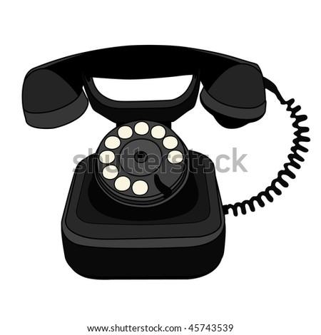 black telephone - stock vector