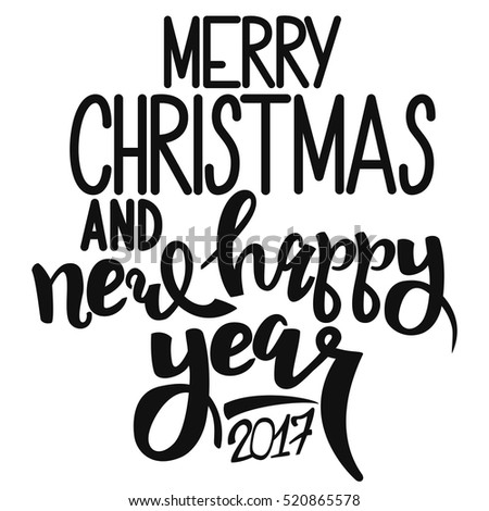 Black Text Merry Christmas And Happy New Year 2017 On A White