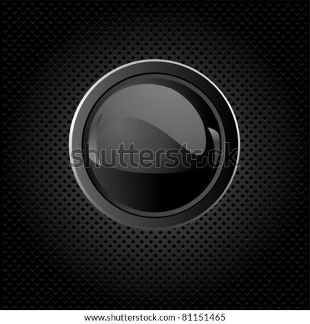 Black texture background with  button - stock vector